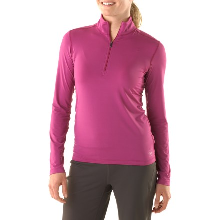 Well-suited to a wide range of outdoor activity, the women's REI Luxweight Zip-T creates exceptional next-to-skin comfort. When feeling the fabric of the REI Luxweight Zip-T, you'll notice it's very smooth and cool to the touch. Nylon and spandex fabric insulates, wicks moisture and dries in 2.5 hrs. Fabric protects against too much UV light with a UPF factor of 50+. Center front zipper allows ventilation control. Flatseam construction is soft and non-chafing next to skin. Extended shirt length helps hem stay tucked in. The women's REI Luxweight Zip-T features a next-to-skin fit that hugs the body and boosts fabric performance. - $23.93