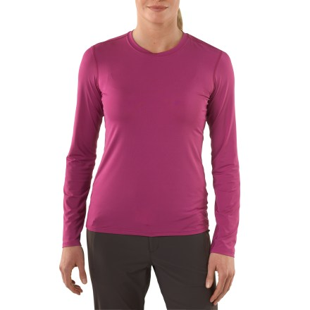 Camp and Hike Shouldn't next-to-skin base layers be soft? The women's REI Luxweight top creates comfort for hiking, snowsports or just lounging around the cabin. When feeling the fabric of the REI Luxweight top, you'll notice it's very smooth and cool to the touch-quite a nice feeling when put next to skin. Nylon and spandex fabric insulates, wicks moisture and dries in 2.5 hrs. Fabric protects against too much UV light with a UPF factor of 50+. Flatseam construction is soft and non-chafing next to skin. Extended length helps hem stay tucked in. The women's REI Luxweight top features a next-to-skin fit that hugs the body and boosts fabric performance. - $19.93