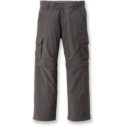 Camp and Hike The REI Sahara convertible pants feature zip-off legs and breathable, quick-drying fabric. Sun-protective fabric completes this camping-fun package. NoSitZip(R) legs feature vertical side zippers that extend from the cuffs to the horizontal zippers, so kids can zip the legs off and on without even lifting their feet. Durable nylon is breathable and quick drying for superb comfort and performance. Fabric has a UPF 30 rating for protection from damaging UV rays. Internal button elastic waistband offers a customized fit. Articulated knees allow comfortable range of motion with no tugging. REI Sahara convertible pants feature hand pockets, 2 rear pockets and 2 cargo pockets with rip-and-stick closures. Eyelets in hand pockets aid in water drainage for faster drying time. - $22.83