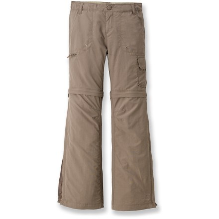 Camp and Hike REI Sahara convertible pants for girls feature zip-off legs and a quick-drying fabric, adapting nicely when Mother Nature is indecisive. Sun-protective fabric ensures camping fun. - $10.83