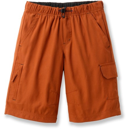 The boys' REI Parker Tech shorts offer sun protection, comfort and rugged style for warm-weather adventurers. Fabric provides UPF 50+ sun protection, shielding skin from harmful ultraviolet rays. Peached finish is soft to the touch. Elastic waistband with drawcord and cordlock offers nonbinding comfort and flexibility. Shorts feature hand pockets, zippered welt pocket on the right leg, rip-and-stick cargo pocket on the left leg and 2 zippered back pockets. - $23.93