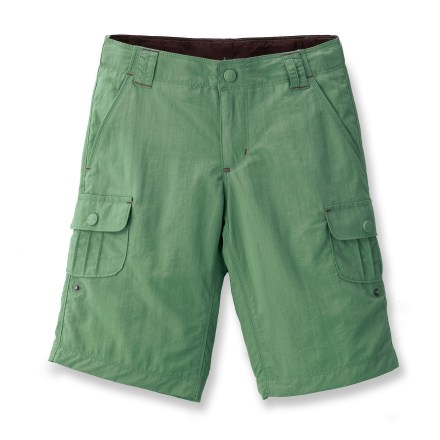 The REI Sahara shorts for girls can be rolled up for added ventilation and convenience when the wading through shallow water along the trail. Soft, lightweight nylon fabric is dependable and quick to dry; shorts can be rolled up to a 7.5 in. inseam. REI Sahara shorts feature an adjustable, internal-button elastic waistband for a customized fit. Fabric has a UPF 30 rating for protection from damaging UV rays. Hand pockets, 2 rear pockets and 2 front thigh pockets with rip-and-stick closures. Pockets are lined with mesh to aid in water drainage. - $34.50