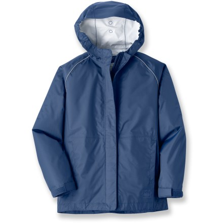 Camp and Hike The waterproof and breathable REI Cascade rain jacket keeps boys dry, comfortable and ready to hike in the rain or stomp in puddles. Jacket features a PVC-free waterproof, breathable coating; it's also wind resistant up to 60 mph. Hood with brim is fully adjustable and features elastic at the opening to help keep hood in place on his head. External stormflap on zipper and adjustable cuffs help seal out moisture. The REI Cascade rain jacket features hand pockets and reflective piping. - $26.83