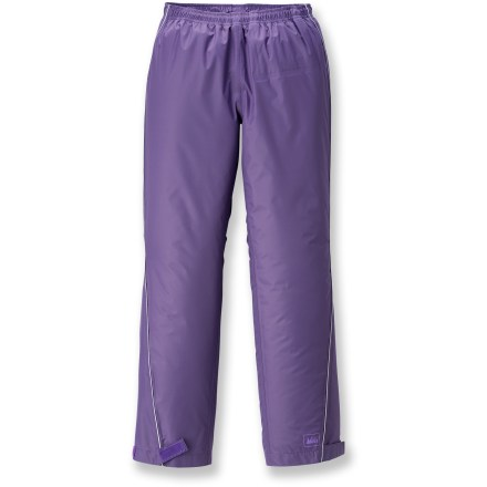 Camp and Hike These waterproof and breathable REI Cascade rain pants help keep girls dry, comfortable and ready for hiking in the rain or splashing in puddles. - $6.83
