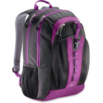 Entertainment The REI Reset Daypack has the right mix of capacity and features to keep you organized at school and beyond. Designed to fit students from middle school to high school or college. Panel opening zippers on 2 main pockets provide easy access to contents; interior has plenty of room for books, papers, lunch and gym clothes. Front zip pocket features an organizer for everyday essentials with room for pens/pencils, calculator, cash, keys and phone. Large mesh front stash pocket holds extras like jacket, hat and gloves. Mesh side pockets are roomy enough for water bottles and any other quick-stash items. Fully adjustable shoulder straps feature dual-density padding that's rounded on the edges so straps don't dig in under heavy loads. Lash extra gear to the REI Reset pack's daisy chain. - $33.93