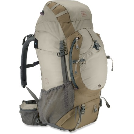 Camp and Hike The REI Crestrail 48 pack balances comfort with performance and durability for weekend or multiday trips. Designed for women, it's the latest in light and compact design, materials and components. Sculpted FreeFlow back panel has multiple peaks and valleys to reduce sweaty contact areas and allow warm vapor to escape; soft foam conforms to your back for a stable fit. ActivMotion(R) hipbelt pivots to follow the natural motion of your hips, helping keep the pack balanced and stable on your back when hiking on uneven terrain. Hipbelt webbing tightens with a forward pull for easy adjustment; 2 zippered pockets provide handy access to snacks. Tubular aluminum perimeter frame is lighter than HDPE/stay frame sheets; it transfers weight to your hips and stabilizes the pack, helping prevent unwanted side-to-side sway. Top-loading main compartment also features a large zippered opening to the bottom for easy access. Large front pocket with double-zipper access, stretch stash pocket and lightweight lash points provide storage and organization for often-used gear and clothing. Side bottle-locking pockets secure bottles or other items, helping prevent them from falling out when bushwacking or taking your pack off. Quick Clip ice axe attachments are strategically positioned to avoid interference with pockets and access zippers. Over-the-top and dual side compression straps pull the load closer to your back, minimize bulk and provide external attachment points for gear. Floating top lid extends, allowing the pack to handle large loads. Ripstop nylon fabric resists abrasion and tears; Durable Water Resistant finish repels moisture. Water-repellent zippers help keep your contents dry and eliminate the need for fabric zipper flaps. Route your reservoir's drink tube over either shoulder (hydration reservoir sold separately). - $78.83