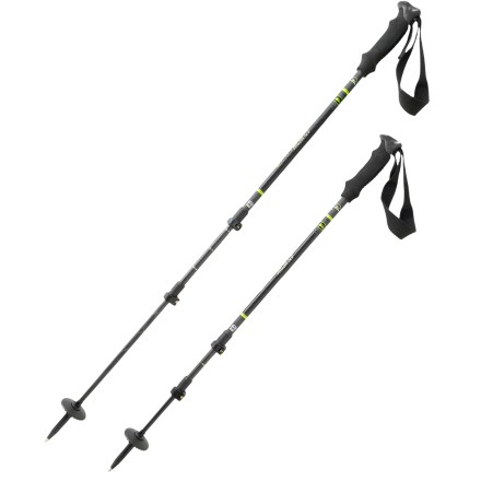 Climbing The REI Carbon PowerLock trekking poles offer easy and reliable external locking mechanisms. These user-friendly poles provide steady traction on ice and rock surfaces. Carbon fiber creates ultralight poles that damp vibration and retain strength over a wide temperature range. PowerLock(TM) II external locking mechanisms are easy to use-even at low temperatures and when wearing gloves. EVA foam hand grips have an ergonomic, contoured shape and are easy to hold; adjustable, padded wrist straps add support. Poles are fitted with trekking discs and durable tungsten carbide tips; included tip protectors are strictly for travel/packing protection, not intended for hiking. Trekking baskets promote stability on soft terrain; baskets are easily twisted on and off. - $129.00