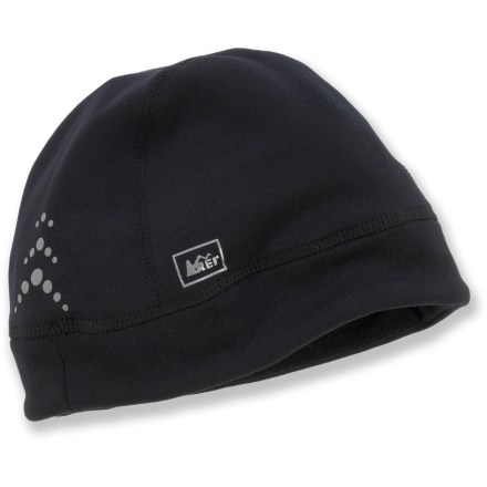Entertainment Don the comfortable and durable REI Active Stretch beanie for warmth while running, skiing, walking the dog or enjoying the local playground when the temperature dips. Polyester/nylon/spandex fabric blend provides 4-way stretch and dries fast, making it ideal for skiing, cold-weather cycling and other active sports. Reflective trim increases your visibility in low light. - $8.83