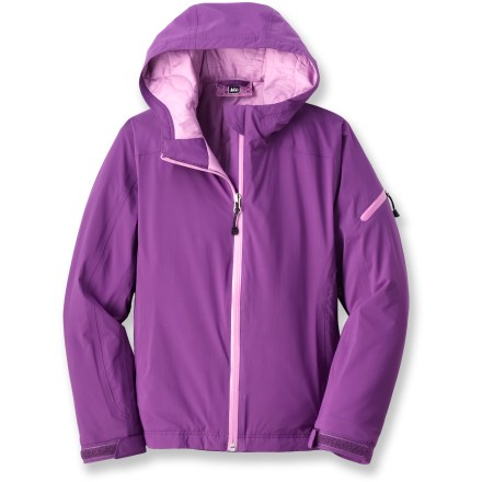The REI Salix jacket offers a girl a waterproof, breathable and insulated layer of protection for wet and cold adventures. - $21.83