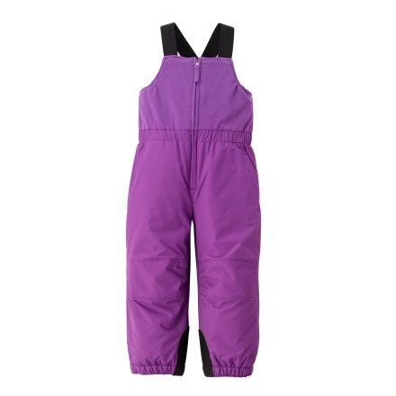 Ski The adjustable REI Timber Mountain bib pants will help keep your toddler warm and comfortable as she plays in the snow. Durable nylon shell is backed by a warm fleece lining for cozy comfort. Microfleece bib features an elastic waistband and shoulder straps. Legs feature reinforced and articulated knees, scuff guards and snow gaiters. Zippered hand pockets provide secure storage. - $23.83