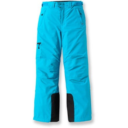 Ski The windproof and water-resistant REI Timber Mountain pants are lined with fleece to keep girls warm and dry. Coated nylon shell with Durable Water Repellent treatment repels water and wind; polyester fleece lining keeps kids warm. Reinforced, articulated knees offer full range of motion and enhanced abrasion resistance. Features zippered, tricot-lined handwarmer pockets and a left leg pocket with a water-resistant zipper. Waist adjusts with rip-and-stick tabs at sides; front features zipper fly. Snow gaiters on lower legs keep cold out, warmth in. - $33.83