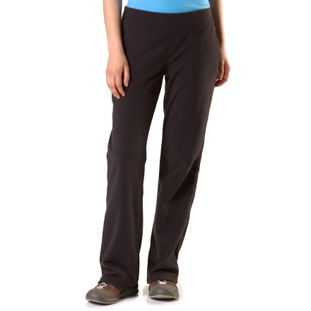Enjoy the soft comfort of the REI Greenlake microfleece pants. They're perfect for a Saturday afternoon walk to the farmer's market or relaxing wherever you may be. Lightweight brushed microfleece wicks moisture away from skin and resists pilling and snagging. REI Greenlake microfleece pants dry in under 4 hours, so pack them for your travels. Smooth, elastic waistband ensures a comfortable and stable fit; curved back yoke flatters a woman's shape. Flatlock stitching eliminates abrasion, increases comfort and enhances fit by reducing bulky seams. Zip hand pockets. Classic fit is body-conscious without being restrictive. - $26.69