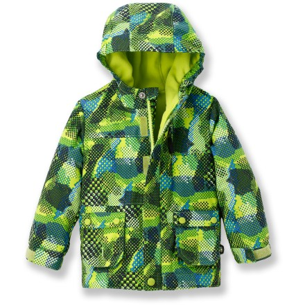 Ski The water-resistant REI Timber Mountain jacket helps your toddler boy stay dry and warm while playing outdoors. - $19.83