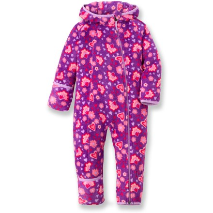 Our heavyweight REI Snowy Creek suit for little girls will help keep tiny snow fans warm and looking adorable. Plush, polyester fleece is soft and comfortable, dries quickly and continues to insulate even when damp. Front zipper extends from chin down to foot for easy dressing; full-length zipper guard keeps zipper away from sensitive skin. Hood with elastic trim keeps child's head warm. Sleeve and leg cuffs fold over to protect little hands and feet; nylon/Lycra(R) spandex binding around cuffs seals in warmth. Gusseted crotch and 3-panel hood enhance the fit. . - $10.83