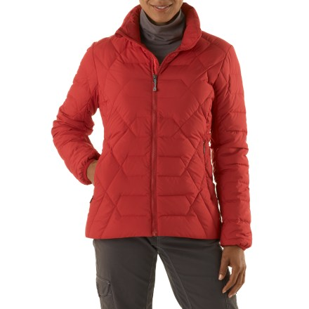 The women's REI Riverstone jacket offers the warmth to keep up with a winter's worth of playtime. With classic, yet contemporary style, it provides warmth on cold, dry days in or out of the city. Insulated with quality 550-fill-power goose down for warmth, light weight and compressibility. Recycled Pertex(R) polyester shell with a Durable Water Repellent finish resists light rain; shell is windproof to 55 mph. Stormflap backs full-length front zipper. Drawcord hem and stretch-bound cuffs. Includes 2 zip hand pockets and 2 inner mesh stow pockets for gloves or other essentials. REI Riverstone jacket features a classic, easygoing fit. - $63.83