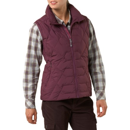 The women's REI Riverstone down vest has classic, yet contemporary style, and provides warmth on cold, dry days in or out of the city. Insulated with quality 550-fill-power goose down for warmth, light weight and compressibility. Recycled Pertex(R) polyester shell with a Durable Water Repellent finish resists light rain; shell is windproof to 55 mph. Stormflap backs full-length front zipper. Drawcord hem blocks drafts. Includes 2 hidden-zip handwarmer pockets and 2 inner mesh stow pockets. REI Riverstone down vest has a classic, easygoing fit. - $48.83
