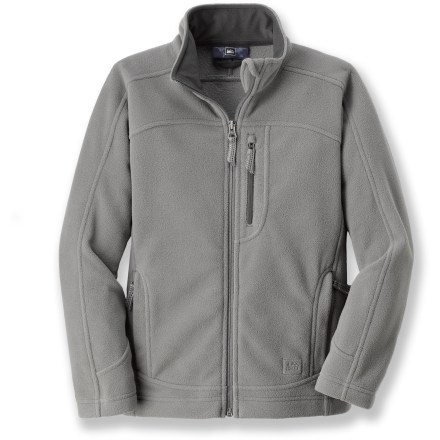 The REI Boulder Ridge fleece jacket can be worn on its own to school or underneath a parka. It's perfect for a weekend trip to the mountains or a chilly day around town. Warm, breathable midweight microfleece resists pilling, dries quickly and continues to insulate even when wet. Zippered handwarmer pockets feature soft tricot lining. Full-length zipper has chin guard at top to protect against zipper abrasion; high collar gives extra warmth. Write-on internal ID label. - $26.93