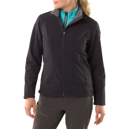 The Neo Jacket from REI is a comfortable, weather-resistant, everyday soft shell. It resists rain and blocks wind, and the soft pile fleece lining provides comfortable warmth. Soft, supple fabric is durable and features comfortable stretch; Durable Water Repellent finish resists moderate rain and moderate wind (to 55 mph) yet allows breathability. Soft pile interior feels great on cool days; and since it's laminated to the outer shell, bulkiness is kept to a minimum. Interior stormflap stops weather penetration. Straddle top-stitching seam detail adds attractive style. Hand pockets feature hidden zippers and topstitch detail; interior drop-in pockets. REI Neo jacket has a classic fit that is body-conscious without being restrictive. - $63.83