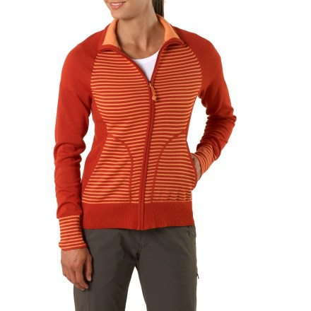Fitness The REI Rendezvous CoolMax(R) sweater wicks moisture away as you explore new places. It's the perfect choice on chilly days. CoolMax jersey knit construction wicks moisture for enhanced comfort and feels nice next to skin. Full zip, runs up through mock neck; small gathers at neck add style. Front princess seams create feminine shape; beautiful, fully fashioned sweater construction. Rib construction at side panels, hems and cuffs. Hand pockets. REI Rendezvous sweater has a classic, body-conscious fit. Machine wash gentle cycle; lay flat to dry. - $43.83