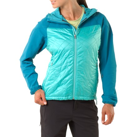 The women's Mont Range jacket from REI is an extra-warm hybrid shell. A unique design includes soft-shell fabric in exposed and high-wear areas and PrimaLoft(R) Eco insulation in the core. Hood, shoulders and sleeves are built with breathable, stretch soft-shell fabic to resist rain and wind, and to also offer durability when wearing a pack. 60g PrimaLoft(R) Eco fill provides warmth where it's needed most; both the fill and its Pertex(R) shell are made using recycled materials. Hood and arms offer windproof protection to 25 mph; core area offers windproof protection to 50 mph. Full-length front zipper with internal windflap. Adjustable hood, stretch cuff bindings and drawcord hem seal out cold. REI Mont Range jacket has 2 zip handwarmer pockets and 1 zip sleeve pocket. An active fit aids warmth without inhibiting movement. - $49.83