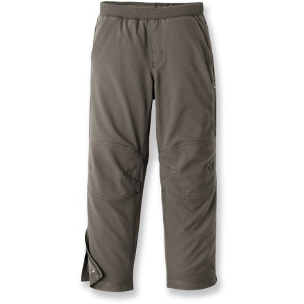 The durable REI Rock Point pants are up for all kinds of outdoor adventures, from the trail to the school yard. Tough polyester fabric features a Durable Water Repellant coating to resist light precipitation; full lining offers warmth and comfort. Elastic waist with drawcord and faux fly offers a custom fit and pull-on ease. Zippered leg vents make it easy to take the pants off or put them on over shoes or boots; a double layer of fabric at the knees offers abrasion resistance. The Rock Point pants feature back patch pockets, slash hand pockets and a zippered security pocket on the left leg. - $49.50
