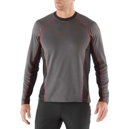 Fitness The lightweight REI Fleet long-sleeve T-shirt adds breathable, moisture-wicking comfort to your workout. Polyester comfortably moves with you during active pursuits and wicks moisture. Although the REI Fleet long-sleeve T-shirt does not meet REI standards for drying quickly, this T-shirt dries in under 3 hrs. Fabric helps protect skin from harsh UV light thanks to a UPF 40 rating. Mesh inserts along sides and on sleeves increase ventilation. Flatlock seams and raglan sleeves reduce chafing. Reflective details boost visibility in low light. The REI Fleet long-sleeve T-shirt offers an active fit that provides a full range of motion. - $30.93