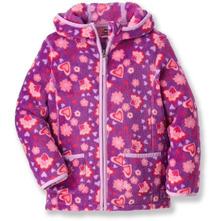 The REI Snowy Creek girls' fleece jacket employs our heaviest fleece for young outdoors folk. It's sure to keep your toddler warm during cold-weather outings. Thick, breathable fleece dries quickly and insulates even when damp. Elasticized, 3-panel hood minimizes chill. Cozy hand pockets with tricot lining keep hands toasty warm. - $18.83
