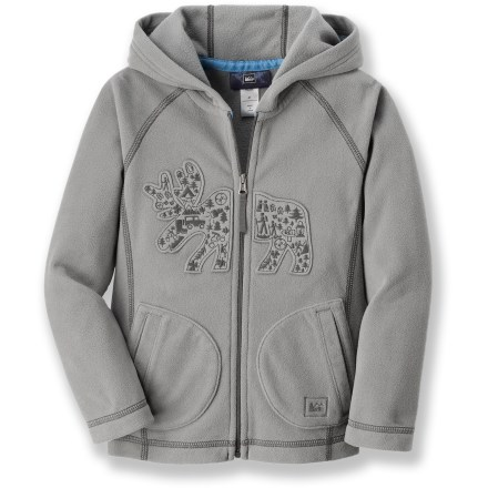 The REI Caper Peak microfleece jacket employs our heaviest fleece for young outdoors folk. It is sure to keep your toddler warm during cold-weather outings. Thick, breathable polyester fleece dries quickly and insulates even when damp. High collar and a 3-panel hood minimize chill. Cozy hand pockets help keep little fingers toasty warm. - $15.83