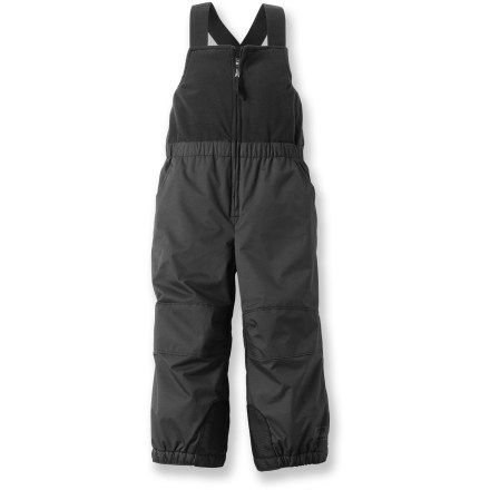 Ski The REI Timber Mountain bib pants will help keep your toddler warm and comfortable as he or she plays in the snow. Durable nylon shell is backed by a warm fleece lining for cozy comfort. Microfleece bib features an elastic waistband and adjustable shoulder straps. Legs feature reinforced and articulated knees, scuff guards and snow gaiters. Zippered hand pockets provide secure storage. - $17.83