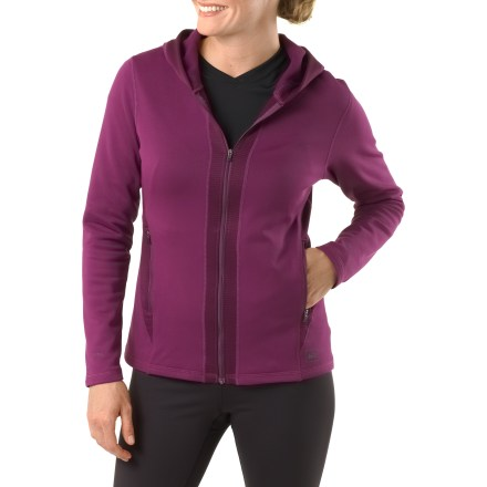 Fitness Warm, comfortable and soft to the touch, the women's REI Powerflyte full-zip hoodie will quickly become a familiar workout companion. Active fit with 4-way stretch is perfect for cool-weather outdoor training, and it also works great as an additional layer. Very comfortable fleece fabric features a moisture-wicking brushed inner face and a smooth outer face. Fabric offers a UPF rating of 50+. Comfortable hood doesn't inhibit movement and feels snug without the use of drawcords; flip it off when you are warmed up. Full front zipper offers cooling ventilation when the day heats up. Zippered pockets shelter hands and feature a port for an earphone cord. Locking zipper won't bounce around on the run. Ergonomic seam placement, flat seams and fabric with 4-way stretch complement your natural movements. The women's REI Powerflyte full-zip hoodie features reflective highlights that increase visibility in dim light. - $19.83