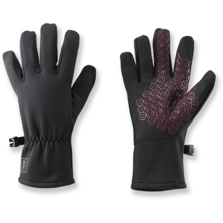 The REI All Season Tech Compatible gloves feature conductive material on the thumbs and index fingers, letting a girl use her touch-screen phone or tablet while keeping her hands warm. Polyester hard-face fleece with a touch of spandex provides a snug fit, water repellency, wind resistance and breathability. Conductive material at the tips of the thumbs and index fingers allows you to send text messages and operate your touch screen without having to take your gloves off. Silicone pattern on the palms improves grip. - $4.83