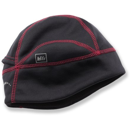 Entertainment Don the comfortable REI Active Stretch beanie for warmth while running, skiing or walking the dog when the temperature dips. Polyester/nylon/spandex fabric blend provides 4-way stretch and dries fast, making it ideal for skiing, sledding and other active sports. Ponytail opening at the back; reflective trim increases your visibility in low light. - $18.50