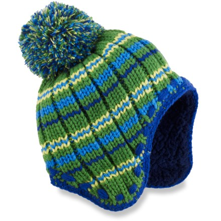 The toddlers' REI Chunky Rib Knit Peruvian hat helps keep youngsters warm and toasty, whether they are walking in a winter wonderland or strolling down an autumn sidewalk. Acrylic fabric provides insulation and warmth without being itchy or uncomfortable. Sherpa fleece lining feels comfortable against the skin and enhances insulation. - $8.83