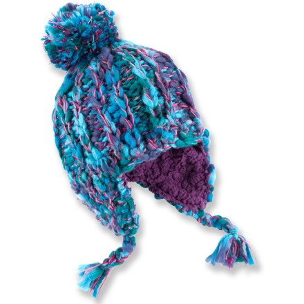 This REI Chunky Knit Peruvian hat keeps girls' heads warm and toasty, whether they're playing in the snow or strolling to school. Made from 100% high-bulk, low-pill acrylic yarn; it's easily cared for and stays warm even when wet. Soft fleece lining feels comfortable against the skin and enhances insulation. Earflaps and crown feature ornamental braided tassels and an oversize pom. - $12.93