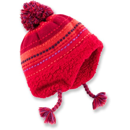The girls' REI Knit Peruvian hat with sherpa lining keeps young heads comfortable and warm all through the winter season. Chunky knit blend provides reliable insulation and warmth without being itchy or uncomfortable. Soft sherpa fleece lining feels comfortable against the skin and enhances insulation. - $24.50