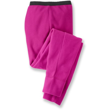 Entertainment Our warmest thermal MTS bottoms, the soft and thick REI Expedition MTS Stretch long underwear bottoms for girls are an excellent first layer for activities in extreme cold. Quick-drying, moisture-wicking, ultrasoft polyester microfleece keeps child warm; natural stretch increases comfort. Superior-quality microfleece is non-pilling so garment maintains a nice appearance. Features an elastic waist and cuffed hems. - $19.93