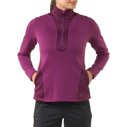 Fitness Ready for late-season runs, the women's REI Powerflyte half-zip top offers chill-reducing comfort and a fit that moves with you. Active fit with 4-way stretch is perfect for outdoor training, and also works great as a base layer in cool weather. Lightweight fleece features a moisture-wicking, quick-drying brushed inner face and a smooth outer face. Deep front zipper makes it easy to put on the REI Powerflyte half-zip top, and it offers cooling ventilation when the day heats up. Locking zipper won't bounce around on the run. Zippered pockets shelter hands and feature a headphone port. Ergonomic seam placement, flat seams and fabric with 4-way stretch complement your natural movements. Curved hem enhances style and increases coverage. Reflective highlights increase visibilty in dim light. - $33.93