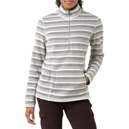 The REI Riverstone Half-Zip Fleece sweater has a sweater-knit exterior and a cozy, brushed fleece interior. 2-tone stripe fleece looks sporty and resists pilling and snagging; brushed interior pushes moisture away from skin and increases warmth. Front and back princess seams add shape. Half-zip mock neck; zip up for warmth and zip down for ventilation. Front kangaroo-style pocket. REI Riverstone Half-Zip fleece has a classic, easy-wearing fit. - $49.93