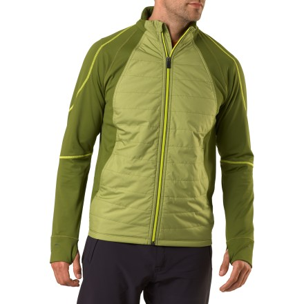 Fitness Go ahead, break a sweat. The men's REI Airflyte Hybrid jacket prevents the cold wind from creating a chill and offers a fit that encourages motion. Wind- and water-resistant recycled ripstop polyester houses lightweight synthetic insulation in a pattern that's similar to the baffles of your sleeping bag. The insulated section of the men's REI Airflyte Hybrid jacket extends from the hem to the collar, and it does not include the sleeves or side panels. Insulated section features a Durable Water Repellent finish and resists wind to 55 mph. The sleeves and side panels of jacket features a stretchy, breathable polyester jersey that dries in under 4 hrs. and protects skin with a UPF 50+ rating. Full-length zipper offers instant ventilation, and draft flap helps guard core heat. Zippered pockets shelter hands and feature a cord port for you earphones. Thumbholes help keep the sleeves in place during aerobic activities. You'll go farther without chafing thanks to the raglan sleeves, flatlock construction and specially placed seams. Reflective details enhance visibility in dim light. Athletic fit moves with you and stays close to your body; ergonomic seams complement your natural movements. - $68.93