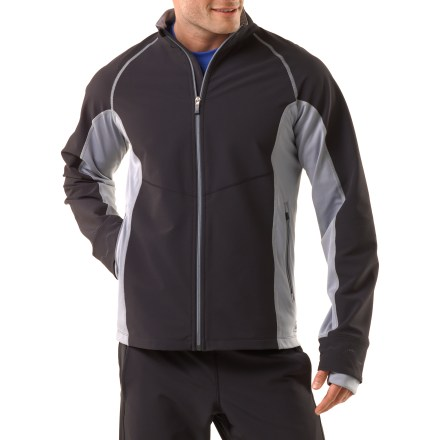 Ski Our REI Winterflyte men's jacket is well-suited for aerobic winter pursuits, offering great breathability and excellent range of motion for comfort when the pace kicks up. Double-weave knit polyester/spandex fabric repels wind, resists water, breathes well and provides the comfort of 4-way stretch; blocks wind up to 25 mph. Durable Water Repellent finish causes water to bead up and roll off, fending off light rain showers and snow. The Winterflyte jacket dries in under 4 hrs. Stretchy underarm panels enhance mobility and breathability. Zippered handwarmer pockets and 2 internal drop-in pockets securely store necessities; headphone port facilitates easy use of tunes. Back zippered pocket is perfect for stowing bulky essentials such as gloves or a hat. Adjustable cuffs feature internal gussets to keep warmth inside; thumbholes help keep the sleeves in place during aerobic activities. Active fit offers a contoured cut with strategically placed seams so that the top moves with the body for a full range of motion. Our REI Winterflyte men's jacket also features reflective detailing to increase your visibility in low light. - $48.93