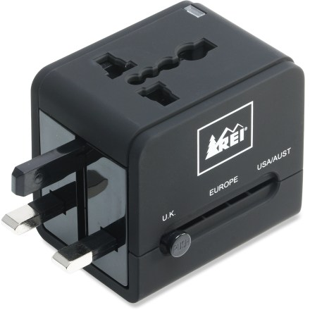 Entertainment The REI USB Multination Travel Adapter Plug eliminates the need to carry multiple adapter plugs. Its design features a universal receptacle that accepts nearly any appliance's plug configuration. - $30.00