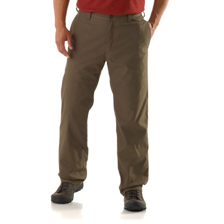While you're working around the cabin or out on the trail for a quick adventure, the REI Riverstone Lined pants provide warmth and comfort with classic style. Cotton/nylon outer layer is fully lined with a performance polyester knit fabric for great warmth on cool days. With a UPF 50+ rating, fabric provides excellent protection against harmful ultraviolet rays. Outer layer is reinforced on the back of the heels to protect against abrasion. 2 hand pockets are designed to keep items from slipping out when you sit; 2 rear pockets (1 with a button-through flap) provide additional storage. Drop-in pocket on the thigh is perfect for a cell phone or a multitool. Gusseted crotch allows unrestricted range of motion. The REI Riverstone Lined pants have a relaxed fit for comfort and freedom of movement. - $39.83