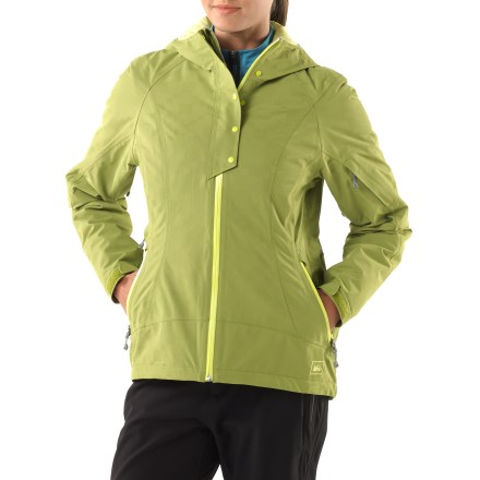 With an urban-inspired attitude and handy technical details, the REI Salix jacket is perfect for a cold day on the slopes or a trek into the backcountry on your splitboard. REI Elements(R)-rated protection: 2-layer waterproof/breathable recycled fabric is seam sealed for weathertight protection and is windproof to 60 mph. PrimaLoft(R) Eco insulation is an ultrathin synthetic fill that minimizes weight and bulkiness, and is warm even if damp. Brimmed hood with fit adjusters optimizes peripheral vision. Stormflap backs the water-resistant front zipper. Pit zips offer ventilation control. Cuffs with rip-and-stick closures and a 1-hand-adjustable hem drawcord seal in warmth. Hand pockets feature rain-resistant zips, and the low-profile zip sleeve pocket has a stormflap; inner chest pocket has a cord port. With its active fit, the REI Salix jacket provides a full range of motion; articulated sleeves ease movement. - $76.83