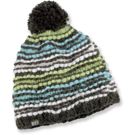 Entertainment Head out for a day of fun with the colorful REI Chunky Stripe Pom hat. Acrylic yarn sheds moisture and dries quickly; partial polyester microfleece lining enhances warmth. Large pom-pom on top adds appeal. - $14.93