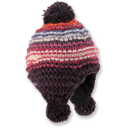 Entertainment Complete your winter wardrobe with the colorful REI Chunky Stripe Pom Peruvian hat. Acrylic yarn sheds moisture and dries quickly; partial polyester microfleece lining enhances warmth. The REI Chunky Stripe Pom Peruvian hat sports a large pom on top for style. - $12.83