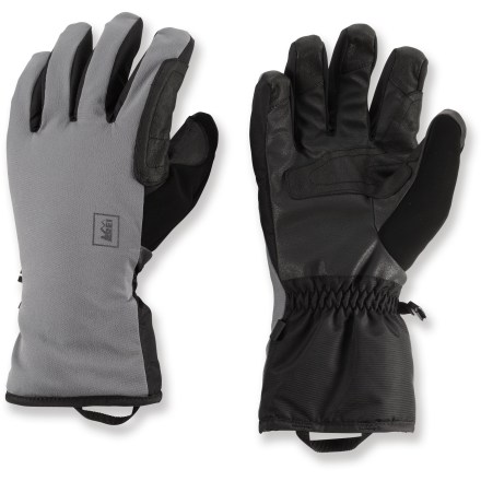 Ski Winter adventures call for gloves that keep fingers warm yet allow the dexterity to zip jackets, open backpacks and fiddle with ski bindings. Pull on the soft-shell REI Fall gloves and get out there. Waterproof, windproof and breathable REI Elements(R) inserts help keep hands dry and warm on snowy days. Polyfill synthetic insulation provides extra warmth. Soft-shell exteriors offer good dexterity; polyurethane palms with leather patches grip well. REI Fall gloves have a slim wrist design that fits under jacket cuffs to seal out cold air. - $29.83