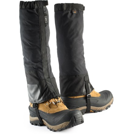 Camp and Hike The strong and lightweight REI Havenpass gaiters keep snow and water out of your boots so you can plunge step your way down a snowy slope and stomp in puddles on the trail. Gaiters feature eVent(TM) waterproof, breathable uppers to keep rain and snow out while allowing sweat vapor to escape to the outside of the fabric. Include Cordura(R) nylon lowers with scuff guards to resist abrasion. Front openings with rip-and-stick closures combine with top webbing straps, lace hooks and replaceable webbing instep straps to fit varying leg shapes and footwear types. REI Havenpass gaiters come with a mesh stuff sack for packing and storing. - $40.93