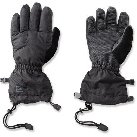 Ski The kids' REI Timber Mountain gloves help keep young hands toasty warm and protected from wind and water with waterproof and breathable performance. Gloves have rugged nylon shells and waterproof/breathable inserts that are windproof to 60 mph. Polyester insulation adds warmth without bulkiness; fuzzy linings add comfort and wick moisture away from the hands. Grippy, reinforced palms are stretchy and durable; thumbs sport a soft nose-wipe panel. Gauntlets extend coverage; 1-handed closures cinch and uncinch with ease. - $23.93