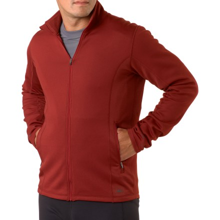 Fitness Warm, comfortable and soft to the touch, the REI Powerflyte full-zip top will quickly become a cool-weather favorite that you'll never want to leave behind. Active fit with 4-way stretch is perfect for cool-weather outdoor training, trail running and hiking. Lightweight fleece features a moisture-wicking, quick-drying brushed inner face and a smooth outer face. Side panels of Polartec(R) Power Dry(R) fabric wick moisture, dry quickly and enhance comfort. Fabric offers a UPF rating of 50+. Full-length zipper offers cooling ventilation when the day heats up. Locking zipper won't bounce around as you move. 2 zippered pockets shelter hands, and drop-in mesh pockets on interior of jacket feature a port for your headphones. Ergonomic seam placement, flat seams and fabric with 4-way stretch complement your natural movements. The REI Powerflyte full-zip top features reflective highlights increase safety in dim light. - $38.83