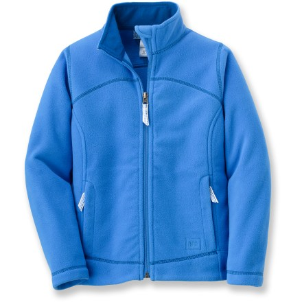 Girls can wear the REI Boulder Ridge fleece jacket on its own to school or underneath a parka for a cold weekend in the mountains. Warm, breathable midweight fleece resists pilling, dries quickly and continues to insulate even when wet. Zippered handwarmer pockets feature soft tricot lining. Full-length zipper has chin guard at top to protect against zipper abrasion; high collar gives extra warmth. Write-on internal ID label. - $18.83